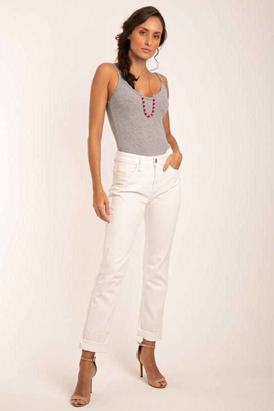 Produto Calça sarja reta clássica cintura alta efeito redutor off white