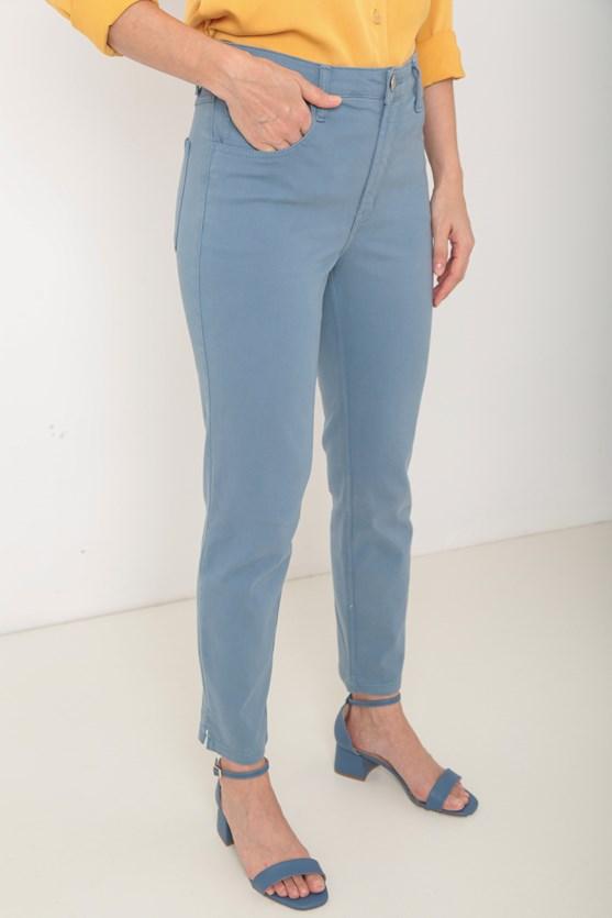 Calça sarja slim abertura lateral az azul