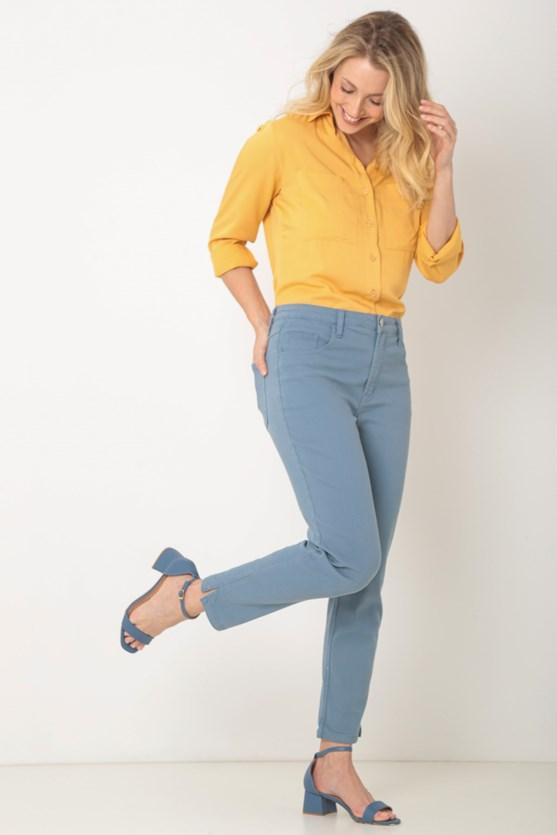 Produto Calça sarja slim abertura lateral az azul