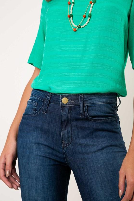 Calça Slim Cropped Cintura Alta Comfort