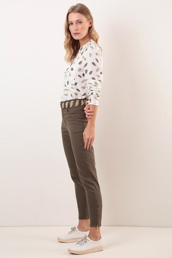 Calça Slim Cropped Cintura Alta Efeito Redutor