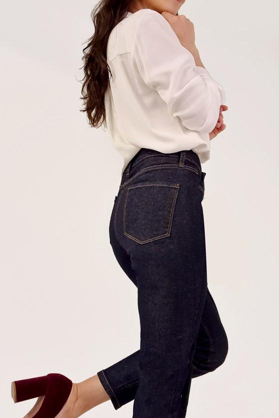 Calça slim cropped cintura alta escura