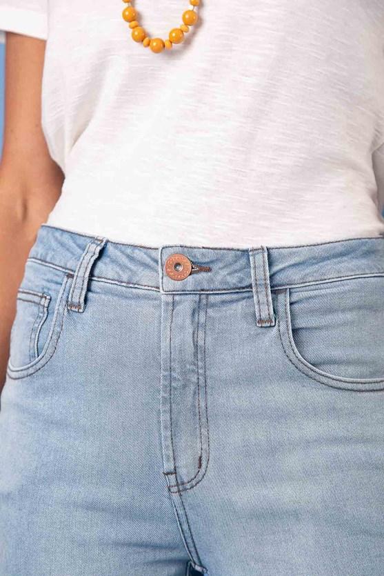 Calça Slim Cropped Cintura Média