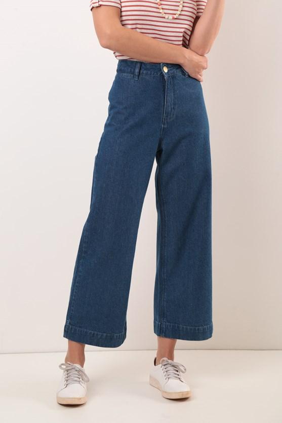 Calça Wide leg Cropped Cintura Alta Comfort