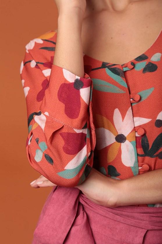 Camisa Com Azelha Decote U Viscose Florir