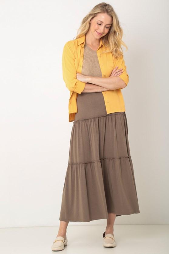 Camisa com bolsos viscose twill lj laranja