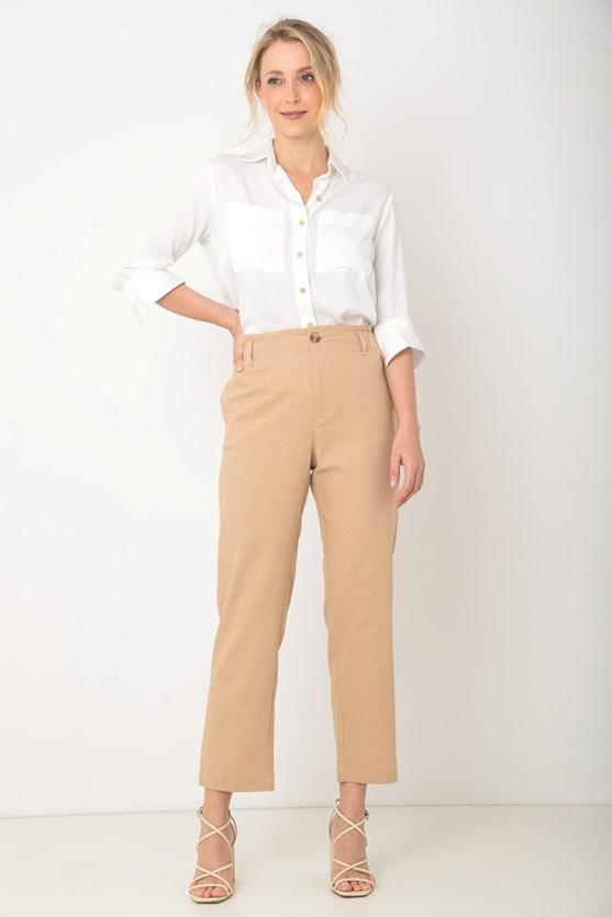 Camisa com bolsos viscose twill off white