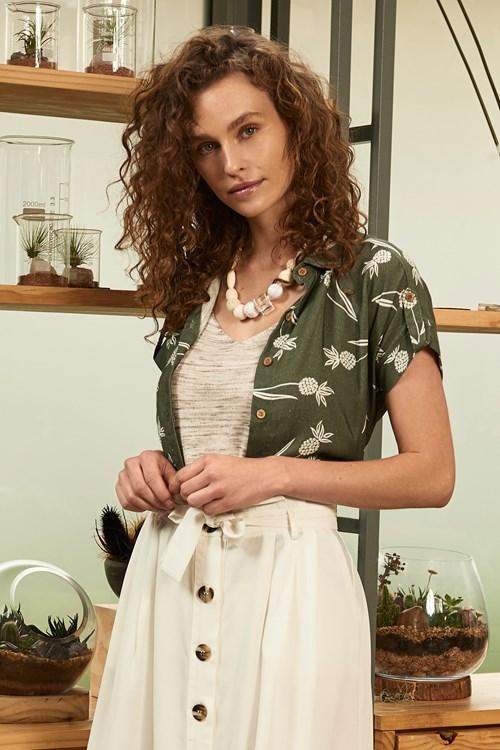 Camisa Com Gola Linho Pineapple