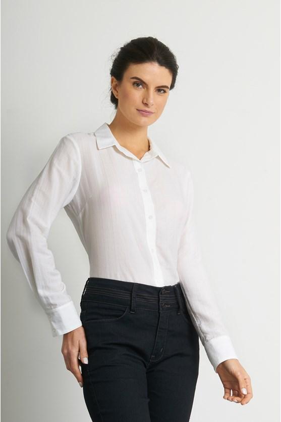 Camisa com gola viscose maquinetada branco