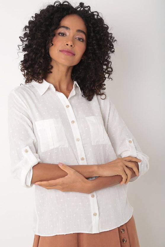 Camisa de cambraia salpico viscose off white