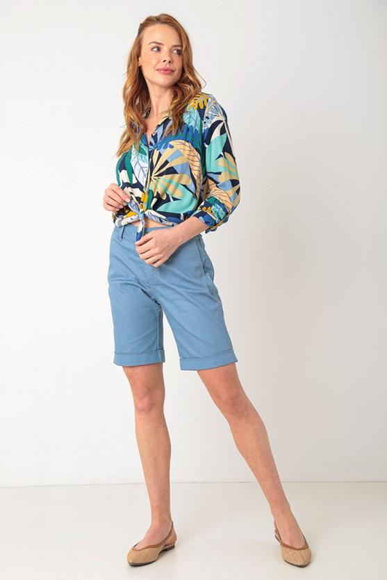 Camisa de viscose para toda hora  az azul