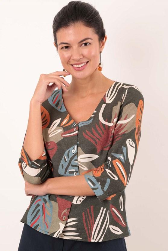 Produto Camisa Decote V Floral Origem