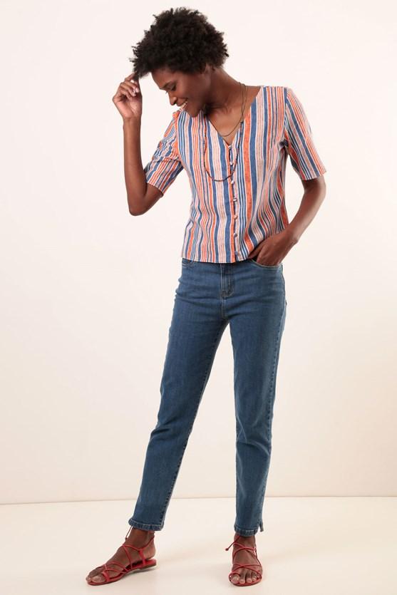 Camisa Decote V Manga Curta Viscose Listras
