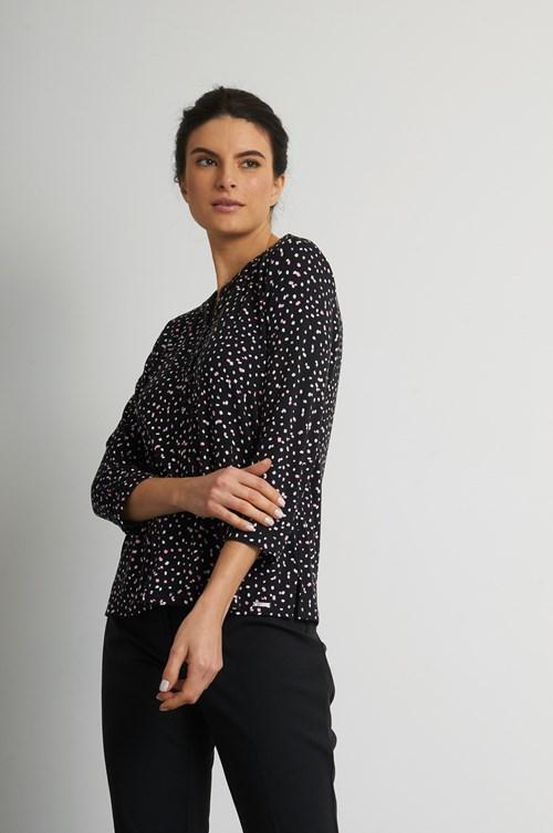Camisa Gola Arredondada E Meia Vista Viscolycra Mix Dots