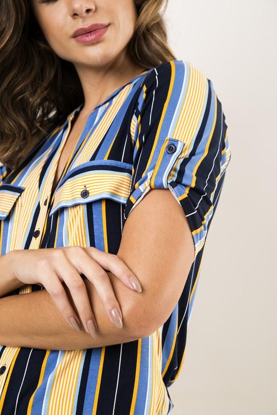 Camisa Gola Padre Decote V Manga Curta Viscolycra Listras