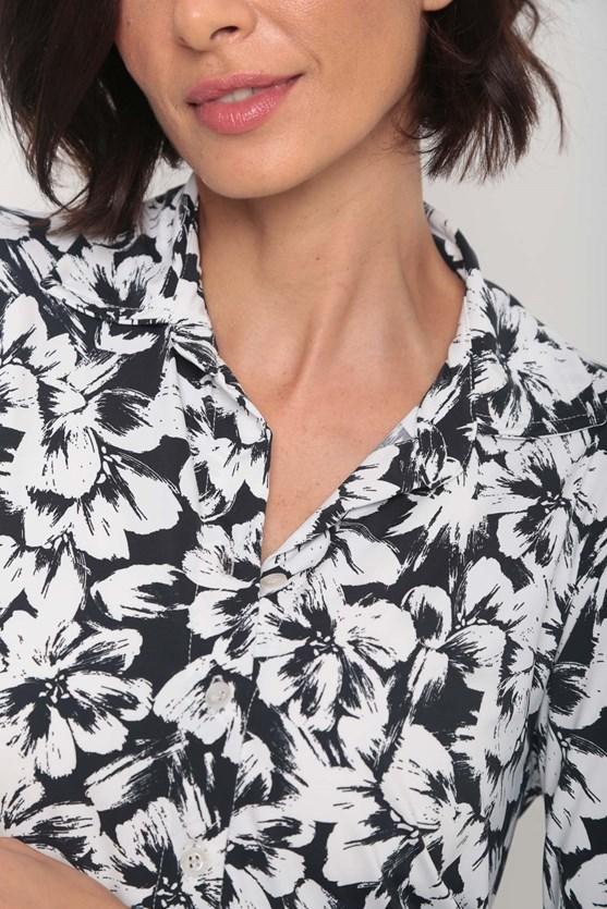 Camisa jersey fluity gola flores pb preto