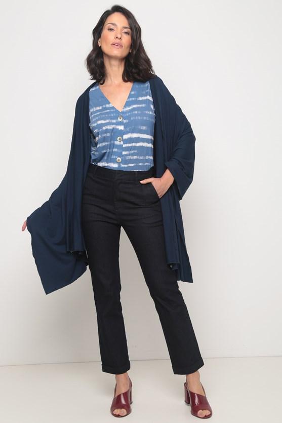 Camisa jersey manga curta listras pinceladas azul