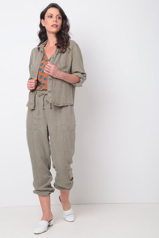 Camisa liocel manga 3/4 bolsos vd militar