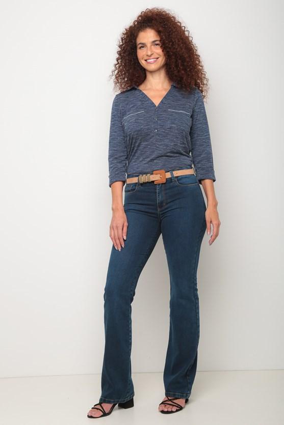 Camisa malha manga 3/4 e gola az azul