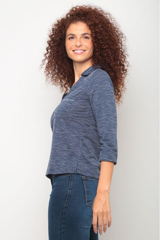 Camisa malha manga 3/4 e gola azul