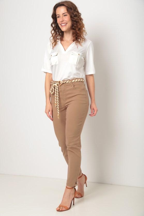 Camisa malha manga curta bolsos frente off white