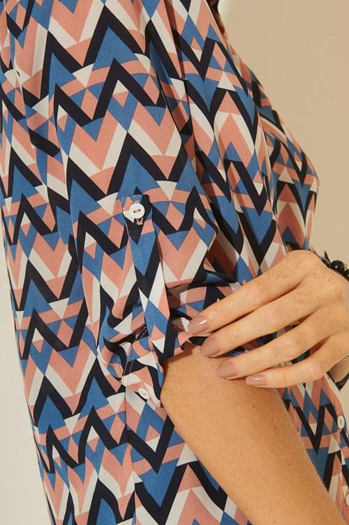Camisa Manga 3/4 Crepe Zigzag