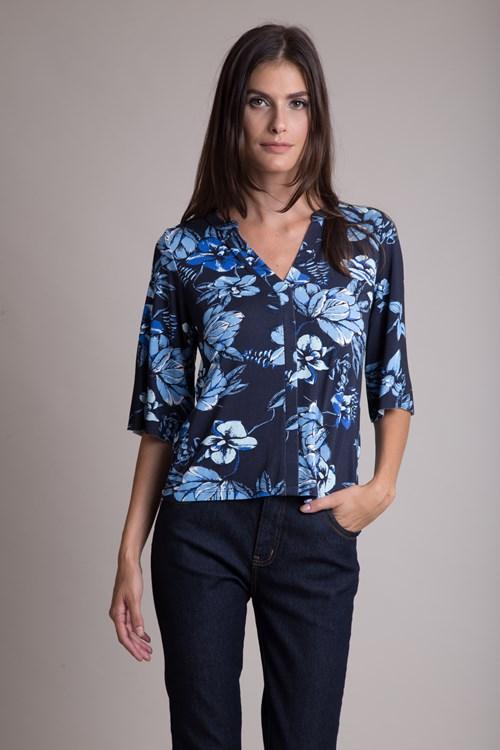 Camisa Manga 3/4 Malha Trico Flores Azuladas