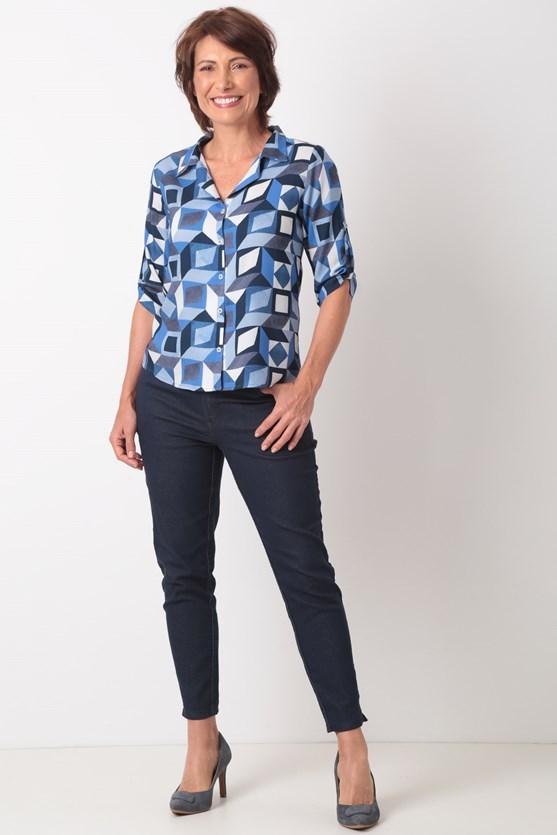 Camisa manga 3/4 viscose prisma azul marinho