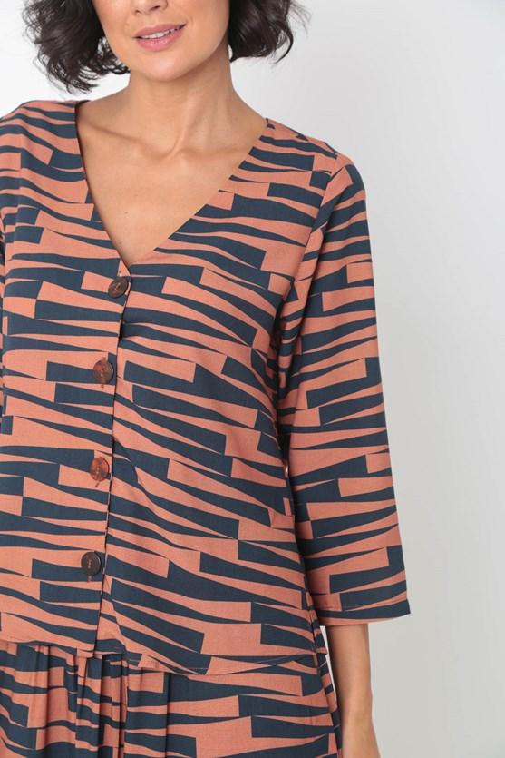 Camisa manga 7/8 decote v marear bege