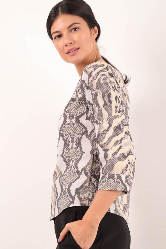 Camisa manga 7/8 recorte ombro cobra amarelo