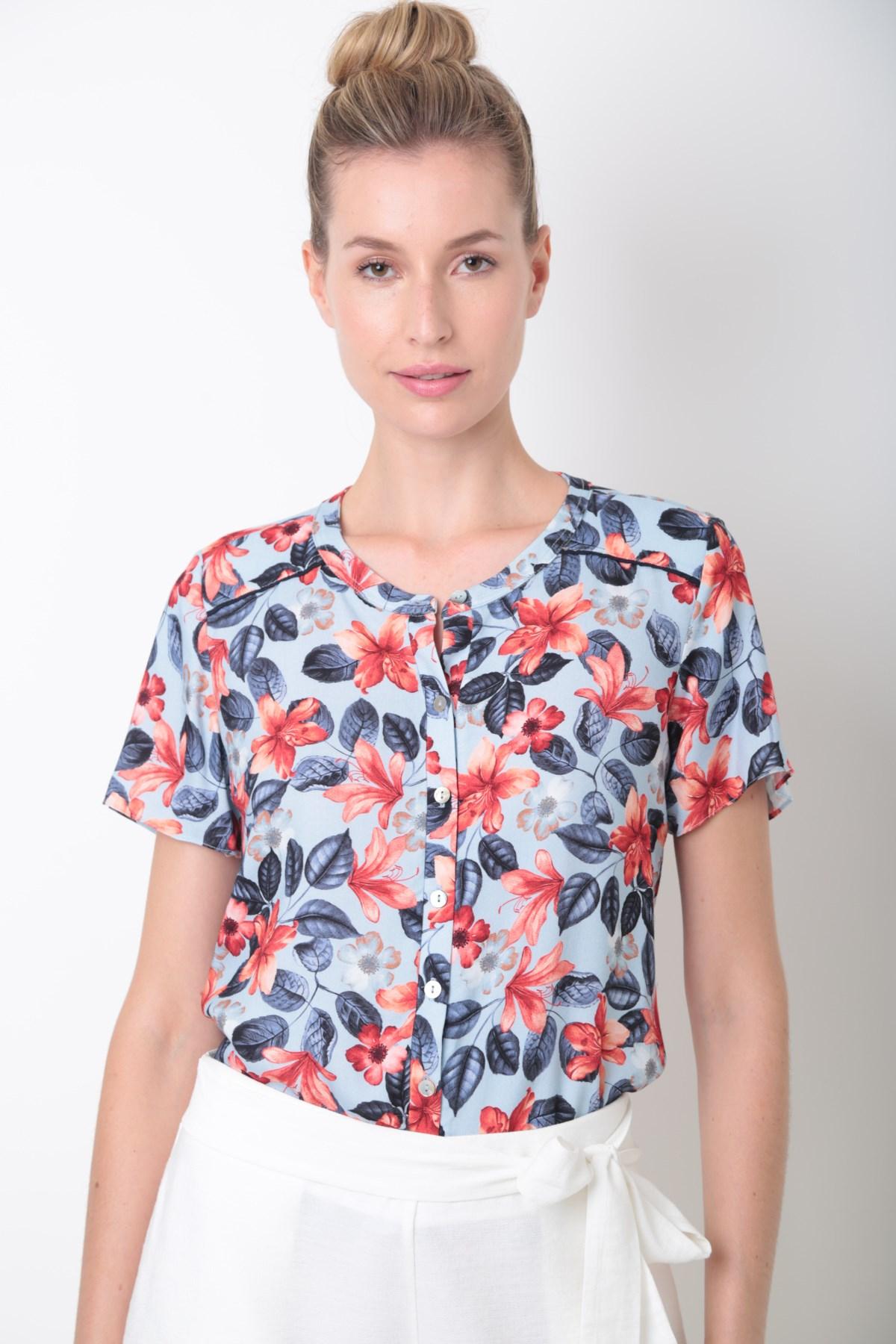 42598694d Camisa Manga Curta Detalhe Vivo Viscose Fresh Floral - Ervadoce