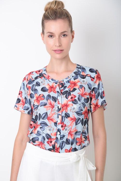 Camisa Manga Curta Detalhe Vivo Viscose Fresh Floral