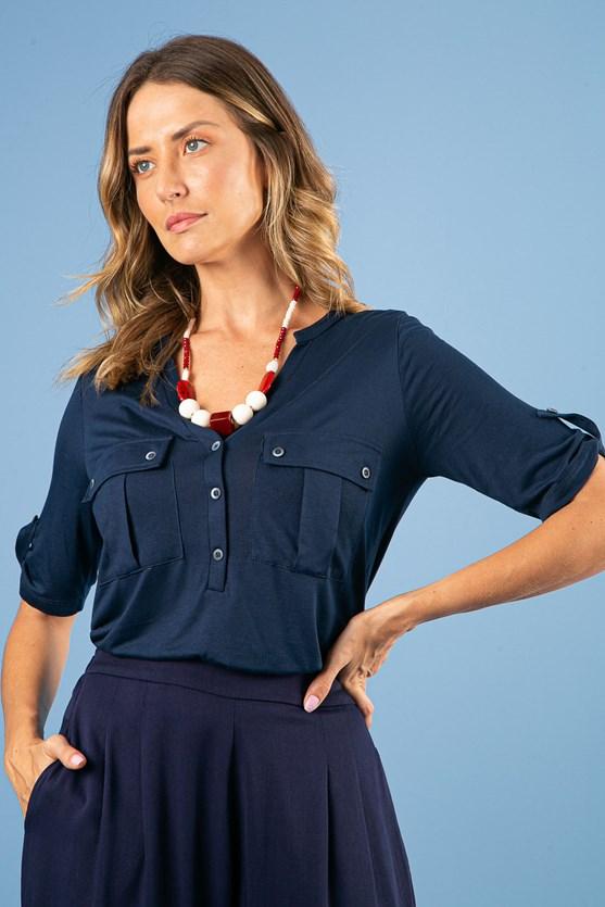 Camisa manga curta gola padre bolsos malha viscose azul marinho