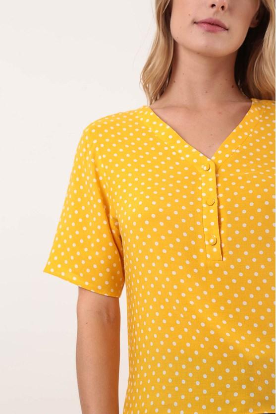 Camisa Manga Curta Meia Vista Pois