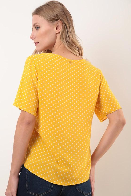 Camisa manga curta meia vista pois amarelo