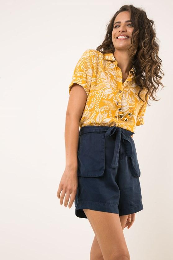 Camisa manga curta modal e linho selva amarelo