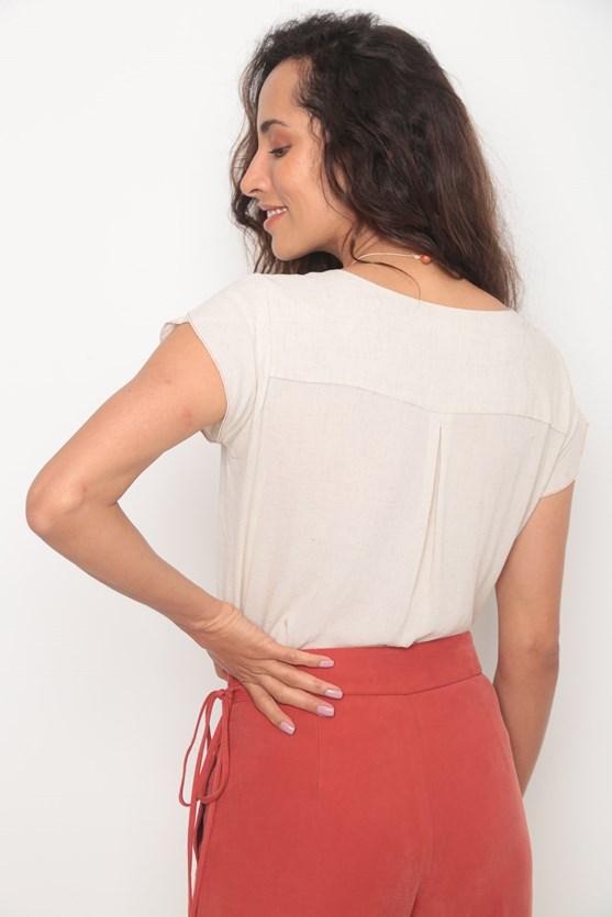 Camisa manga curta natural bege