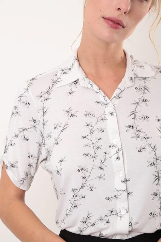 Camisa manga curta orquídeas branco