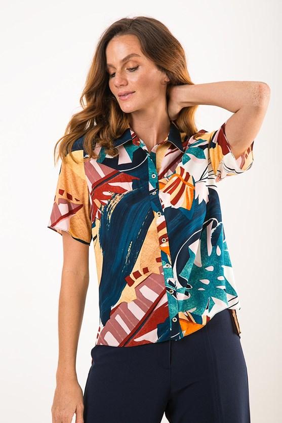 Camisa Manga Curta Viscose Alma