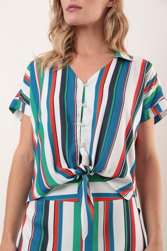 Camisa Manga Curta Viscose Listras