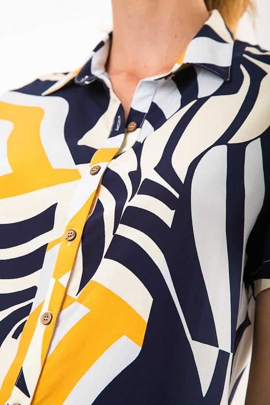 Camisa Manga Curta Viscose Ondas