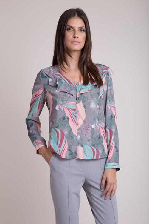 Camisa Manga Longa Crepe Folhagens