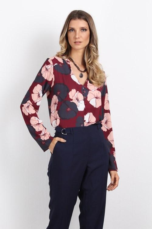 Camisa Manga Longa Flores De Burgandy