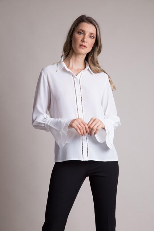 Camisa Manga Longa Sino Em Crepe