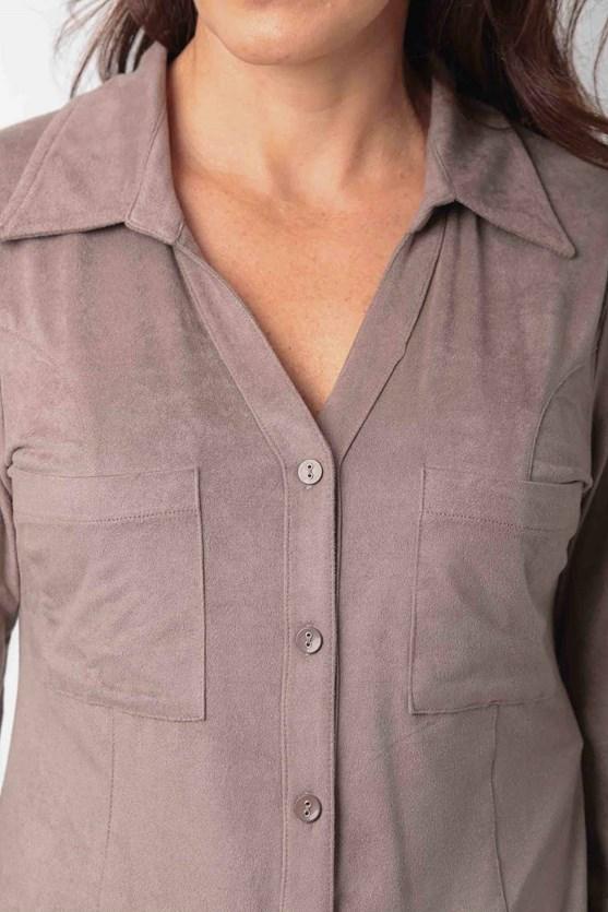Camisa manga longa suede bege