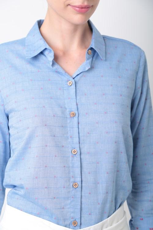 Camisa Manga Longa Voil De Algodão Pois