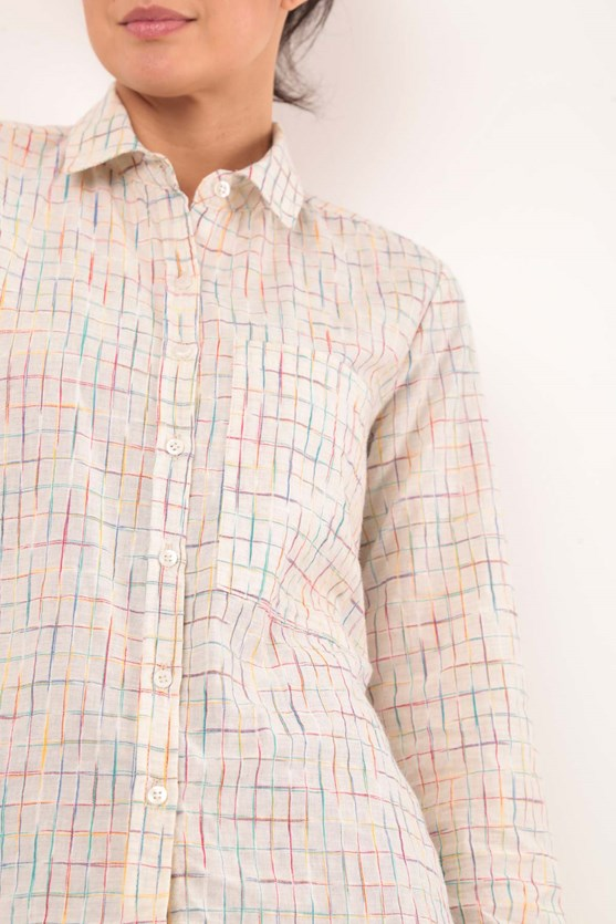 Camisa Manga Longa Xadrez Algodão