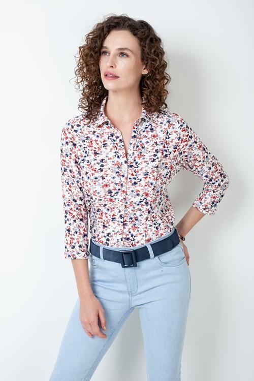 Camisa Nesgas Manga 3/4 Flores Pinceladas