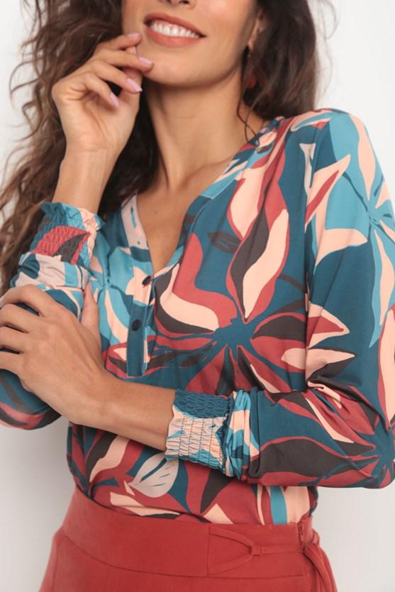 Camisa punho lastex jersey novo floral azul marinho