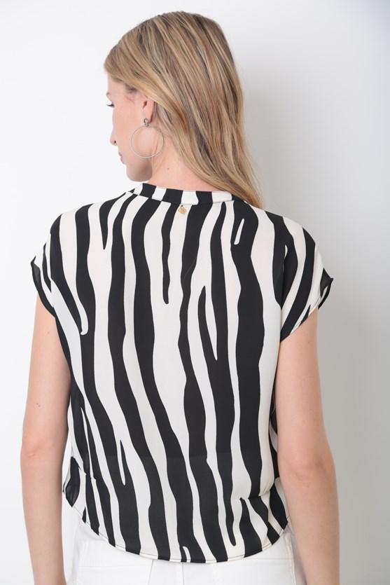 Camisa Recorte Cintura Zebra